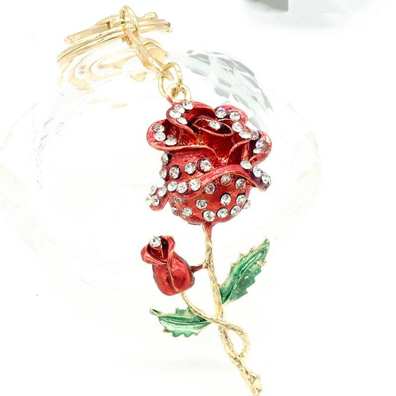 Key Ring Purse Bag Rhinestone Crystal CZ Keyring Keychain charm Pendant Gift flower G219