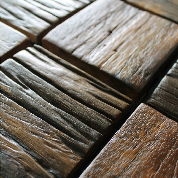 Wood Tile Kitchen Backsplash: Ancient Wood Tiles Hotel Wall Bar Countertops Tile Kitchen