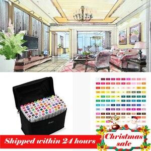 Image 1 - Набор маркеров TouchFIVE, 30/40/60/80/168 цветов, двусторонние скетч маркеры, кисть для манги, школьные, офисные ручки, дизайнерские принадлежности