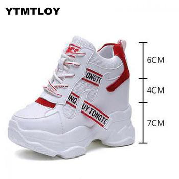 White Trendy Shoes Women High Top Sneakers Women Platform Ankle Boots Basket Femme  Chaussures Femmes  Height Increase Shoes 2
