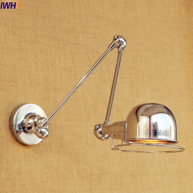 IWHD Silver Adjustable Swing Long Arm LED Wall Light Fixtures RH Indoor Lighting Modern Wall Lamp Sconce Lampara ParedIWHD Silver Adjustable Swing Long Arm LED Wall Light Fixtures RH Indoor Lighting Modern Wall Lamp Sconce Lampara Pared