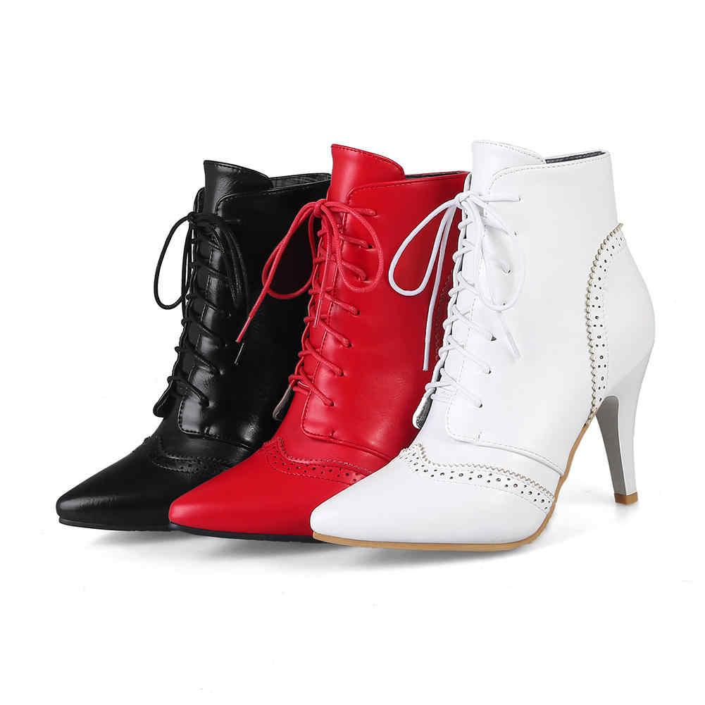 BONJOMARISA 2019 Kış Artı Boyutu 32-46 Marka Sivri Burun Siyah Kadınlar yarım çizmeler dantel-up Ayakkabı Kadın Yüksek topuklu Kadın Çizmeler