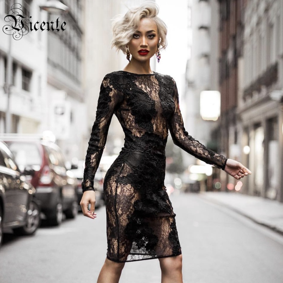 Vicente All Free Shipping HOT 2019 New Elegant Floral Lace Patchwork Long Sleeves Wholesale Women Bodycon