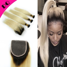 Unprocessed Brazilian Virgin Straight Hair 3 Bundles Weft With 1 Closure Ombre Brazilian Human Hair With Lace Closure 4X4
