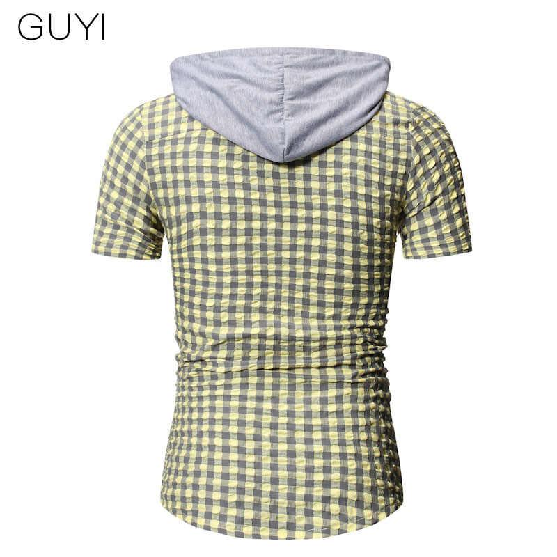 GUYI 3 色のチェック柄フード付きシャツ男性半袖シングルブレスト巾着ブラウスカジュアルスポーツプレッピースタイルのストリートシャツ