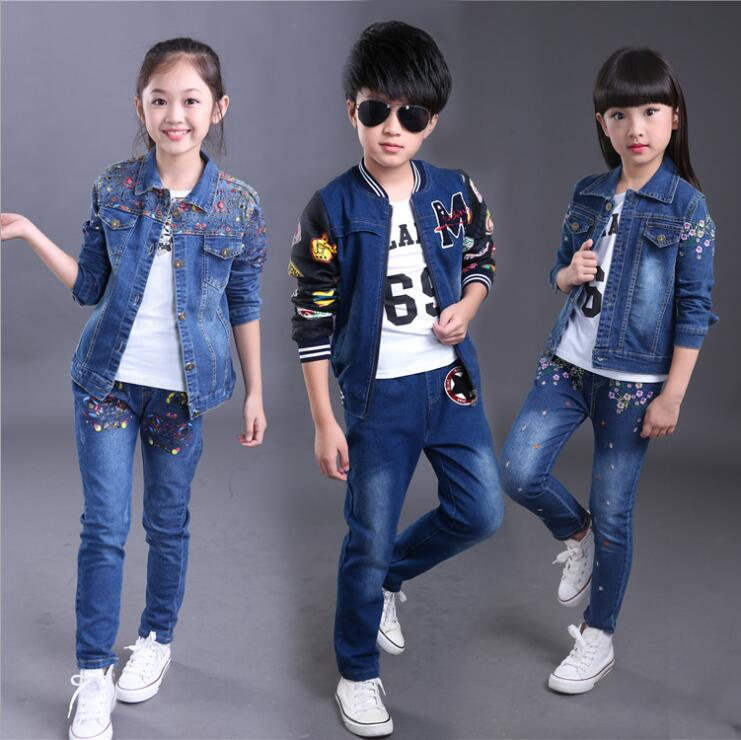 Toddler Kids Baby boys Girl Clothes Set Denim Tops coat+T-shirt +pants Outfits spring Cowboy Suit Children 3pcs Set 4-14