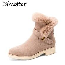 Bimolter Classic Winter Cow Suede Leather Women Ankle Snow Boots Female Rabbit Fur Warm High Quality Short Black LAEB018