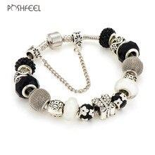 Poshfeel 925 Silver Butterfly Charm Bracelets For Women Crystal Beads Bracelets & Bangles Pulseras Diy Jewelry Mbr170127