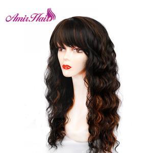 Image 3 - Długie naturalne fale peruki dla kobiet czarny brązowy Ombre blond peruka z grzywką Bob syntetyczne peruki do włosów Peruca Cosplay i imprezowa peruka