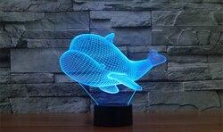 Nowy mały wieloryb lampa 3D kolorowy dotykowy ładowanie LED lampa wizualna lampa atmosfera