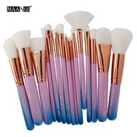 MAANGE 15 Pcs Complete Makeup Brushes Set Professional Set Make Up Tools Kit Powder Foundation Bulsh