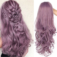 I's a wig Long WavySynthetic Lace Front Wigs Purple Lace Wig For Black /White Women can Cosplay Wave Pink Brwon Wigs