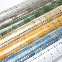 10Meter Aluminum Foil Self Adhesive Mosaic Stickers Kitchen Anti Oil Wallpaper High Temperature Vinyl Waterproof Wall
