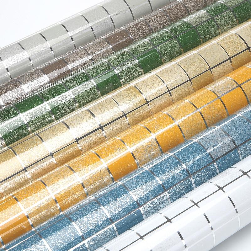 10 Meter Aluminiumfolie zelfklevende Mozaïek Stickers Keuken Anti Olie Behang Hoge Temperatuur Vinyl Waterdichte Muursticker