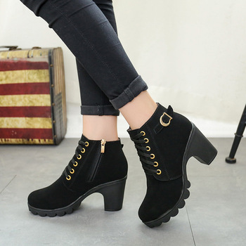 Women's High Heel Ankle Boots 2018 Ladies' Autumn Winter Lace Up Zip Platform Boots Fashion PU Leather Shoes 133