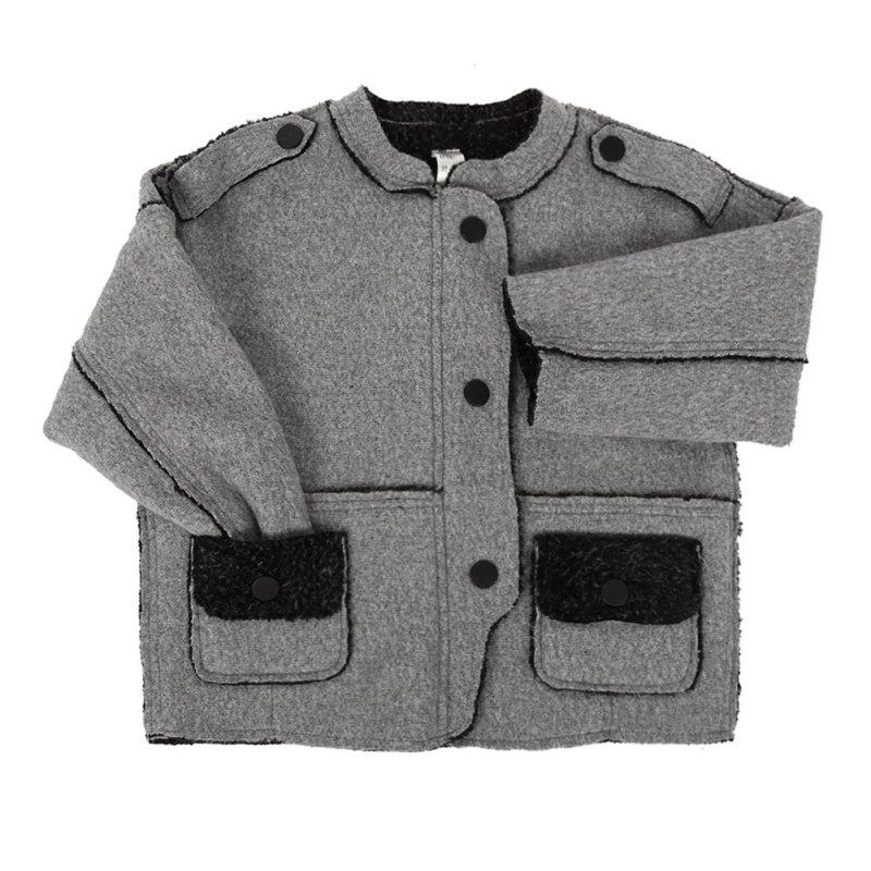 Модные Зимняя утепленная куртка серого цвета для мальчиков от 4 до 11 лет шерстяное пальто верхняя одежда, детское теплое пальто
