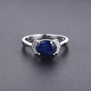 Image 3 - GEMS BALLET 925 Sterling Silver Ring 2.02Ct Classic Natural Blue Sapphire Rings For Women Engagement Wedding Gift Fine Jewelry