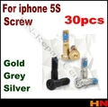 30PCS each color 10pcs Pentagram Bottom Screw Sets Replacement Parts for iPhone 5S New Arrival 5 Point Bottom Screw Flex Cables