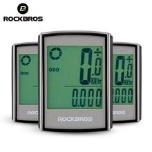 ROCKBROS wodoodporny komputer rowerowy LCD stoper z podświetleniem bezprzewodowy komputer rowerowy prędkościomierz przebieg akcesoria mtb