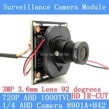 Color HD CMOS 1000TVL AHD CCTV Camera Module 3MP 3.6mm Lens+PAL or NTSC Optional surveillance cameras IR-CUT dual-filter switch