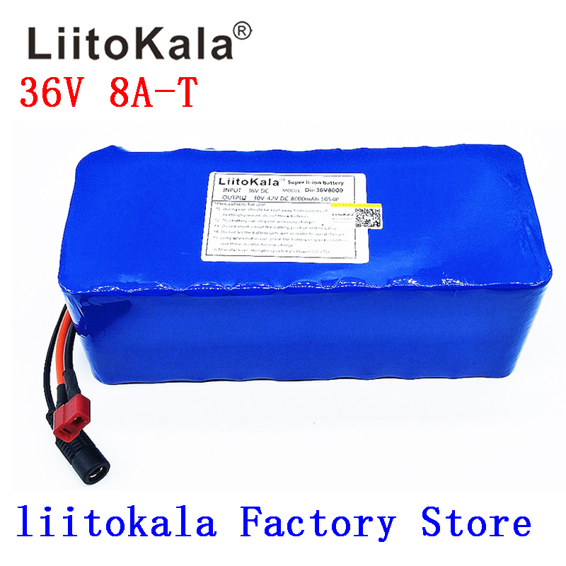 LiitoKala 36V 6AH 8AH 10AH 12AH Electric Bike Battery Built in 20A BMS Lithium Battery Pack 36 Volt with 2A Charge Ebike Battery in Rechargeable Batteries from Consumer Electronics