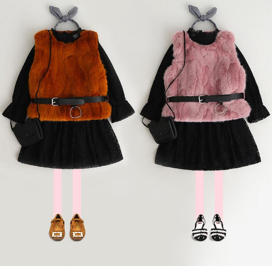 New Baby Girls Winter Dress Sets: Black lace Fleece Dress + Fur Vest Princess Boutique Suits 5 sets/lot Free shipping free shipping 5 sets lot upper