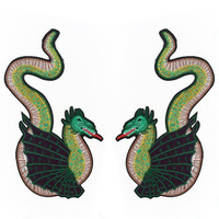 Punk Pterosaur 29CM Iron On Patches For Clothing Fabric Applique Embroidered Stickers For Clothes Patch Diy Apparel Accessories