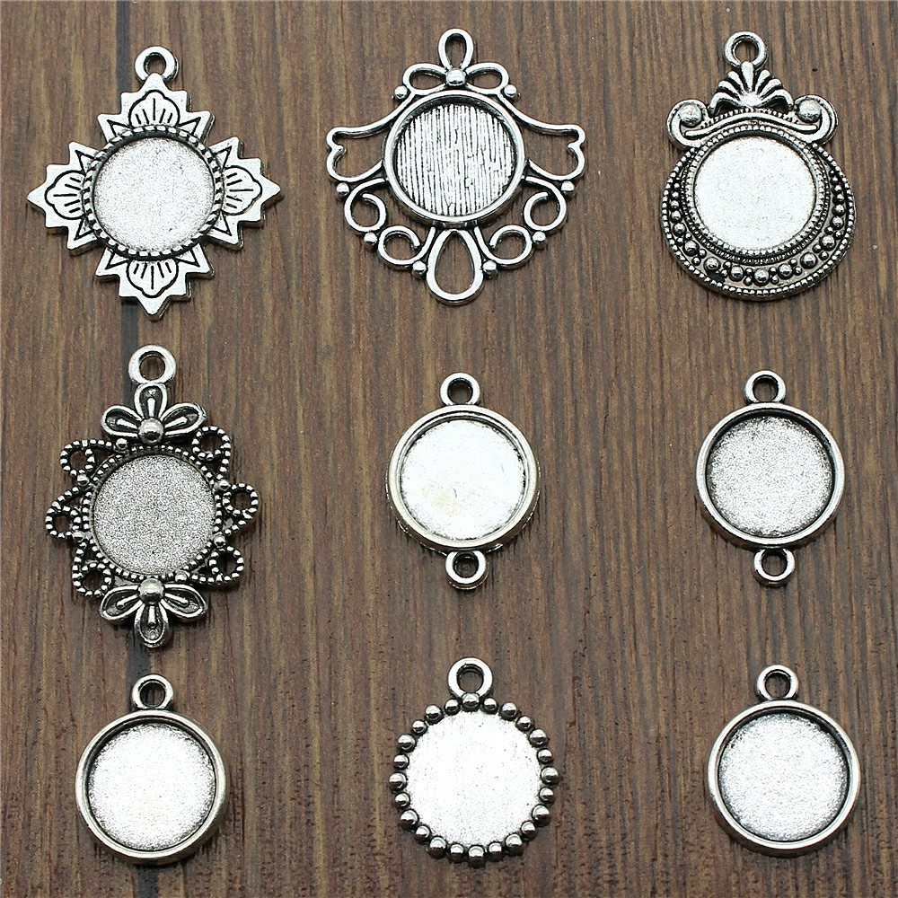 20pcs/Lot Fit 12mm Round Glass Cabochon Base Setting Pendant Tray For Jewelry DIY Making Antique Silver Color Fm4018