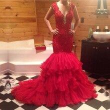 CYF114 Luxus Spitze Meerjungfrau Roten Abendkleid 2016 Vestido De Festa Vestido Longo Sexy V-ausschnitt Perlen Geschichteten Rüschen Prom kleider