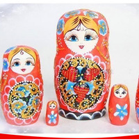 5 Layer Hand Painted Russian Dolls Dry Basswood Strawberry Pattern Matryoshka Nesting Dolls Education Toys for Children L50