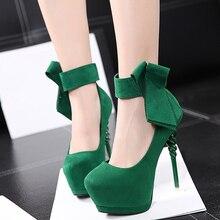 Свадебная обувь лук каблуки зеленый насосы туфли на каблуках женщина насосы пятки платформы партия обуви женщины насосы женская обувь на каблуках X368
