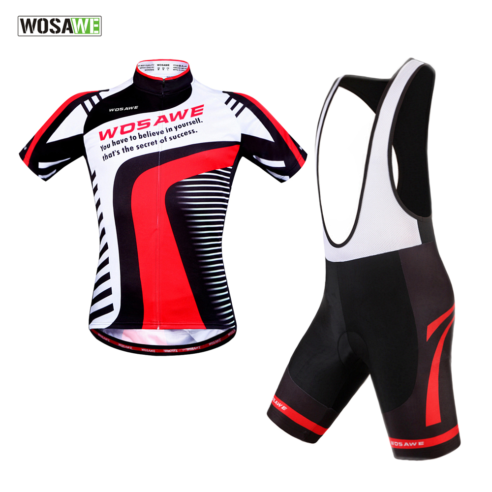 WOSAWE Cycling jersey bib shorts gel padded bicycle clothing MTB Bike Ropa Ciclismo pro team Cycling Clothing polyester summer breathable cycling jerseys pro team italia short sleeve bike clothing mtb ropa ciclismo bicycle maillot gel pad