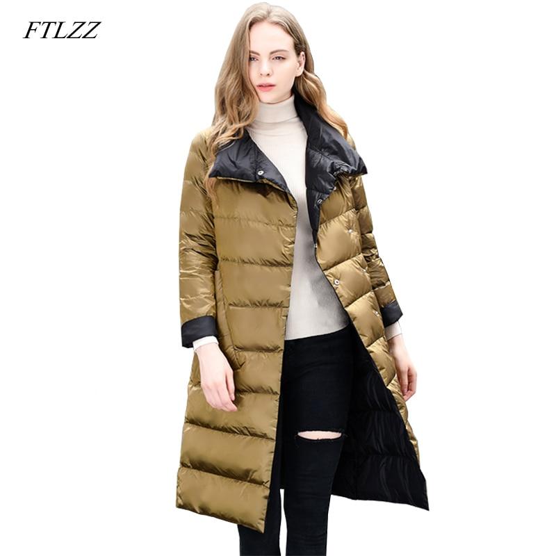 FLTZZ New Winter Women Light Thin Down Jacket Office Lady Double Sided 90% White Duck Down Jacket Overknee Female Warm Outerwear