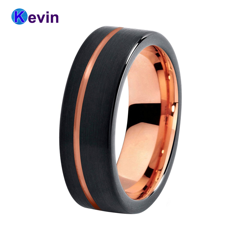 8MM Tungsten Carbide Ring Men Women Wedding Band Black Rose Gold Color Flat Band Offset Groove