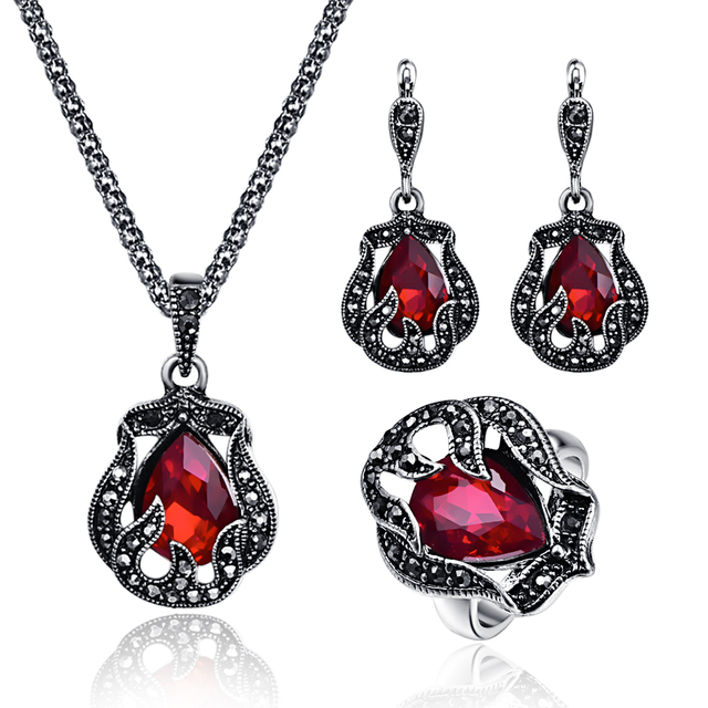 Fashion Antique Silver Vintage Jewelry Sets Red Green Large Crystal Hollow  Exquisite Pendant Necklace 3pcs Women Party Jewelry