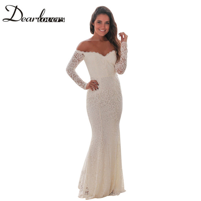 29da0c0e177b Dear lovers White Crochet Lace Maxi Dress Autumn Long Sleeve Off Shoulder  Retro Lace Dress LC61847 Elegant Floor-Length Dresses