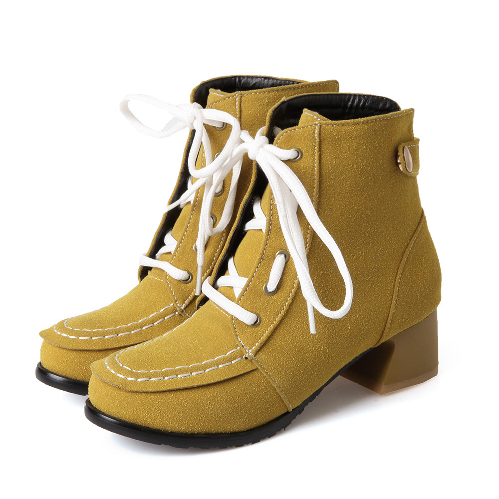 Nilanya Bottes 33 Cheville hiver Beige 50 Grande a68 Nouveau Mode 31 black 30 Bout Rond up Petit Faible Hqw 30 Automne Talon gray Taille 32 Dentelle yellow Femmes Chaussures n8w0vmNO
