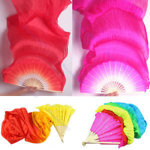 Hand Made Colorful Belly Dance Dancing Silk Bamboo Long Fans Veils 4 Colors
