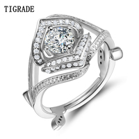 Tigrade Original Solid 925 Silver Ring Luxury 2.5 Carat Sona CZ Stone Wedding Engagement Jewelry Rings For Women Brincos Anime