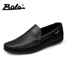 BOLE Summer New Punching Breathable Men Leather Shoes Fashion Walking Durable Metal Decoration Men Causal Shoes Men Shoes Flats(China)