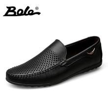 BOLE Summer New Punching Breathable Men Leather Shoes Fashion Walking Durable Metal Decoration Men Causal Shoes Men Shoes Flats