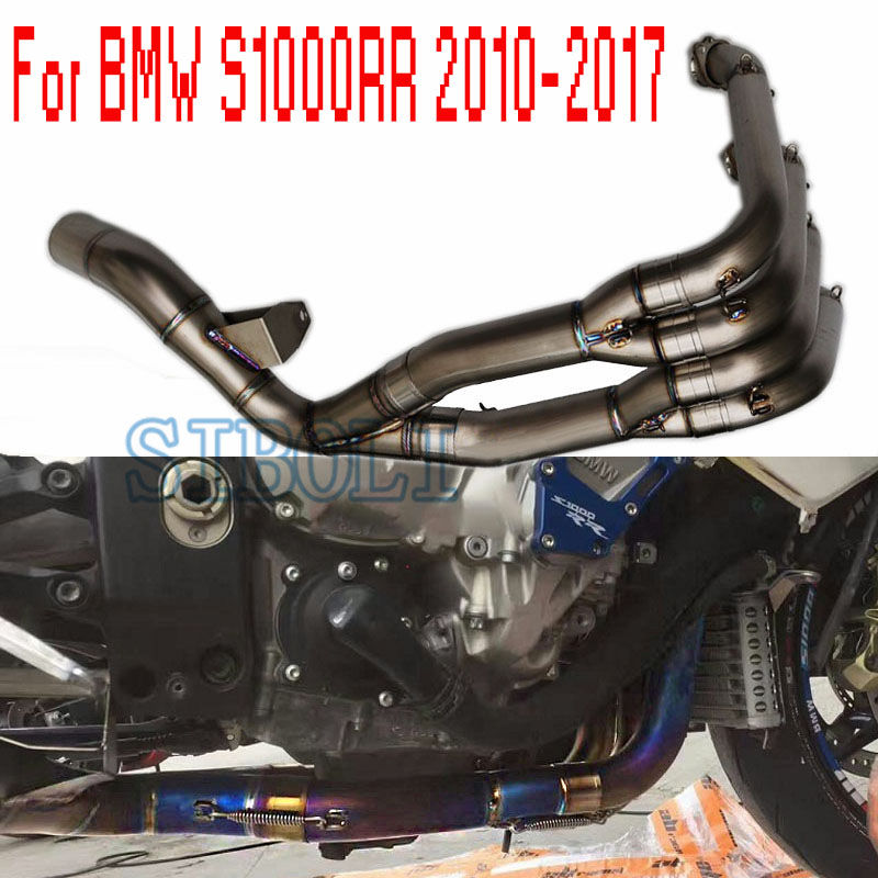Motorcycle Full Exhaust System Connect Pipe Titanium Alloy Tube For <font><b>BMW</b></font> <font><b>S1000R</b></font> S1000RR 2010 11 12 13 14 15 2016 2017 <font><b>2018</b></font> 2019 image