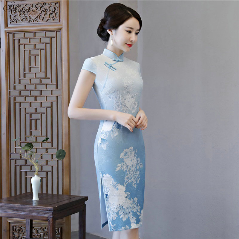Modern chinese dress 2018 qipao style Traditional clothing ladies Short mini Cheongsam Dress vintage printed Q476