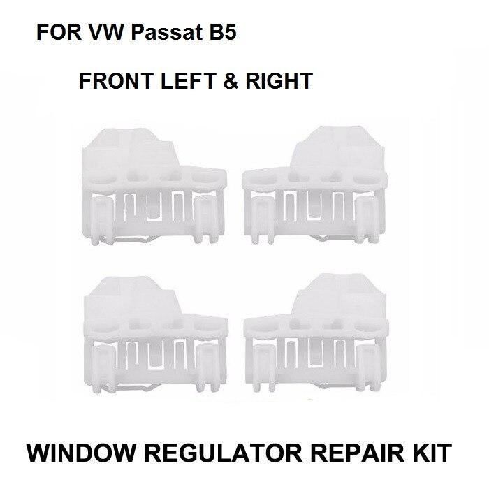 x4 Car Plastic Clips For VW Passat B5 1996 - 2005 Window Regulator Repair Kit - 2 Pairs Front Left And Right car front left side complete auto electric window regulator 3b1837461 3b4837751eg for vw passat 1996 2005