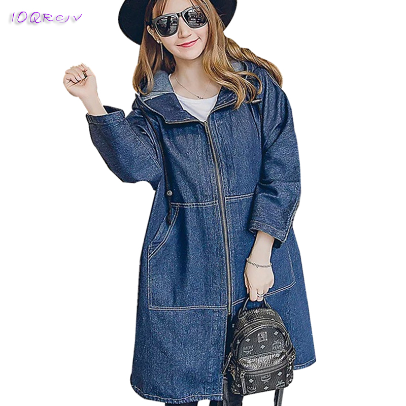 2018 spring women's windbreaker large size loose female trench coat women new hooded casual long women coat elegant IOQRCJV T201
