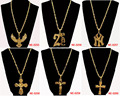 Hip Hop Fashion New Necklaces Pendants for Women 2014 Gold plated NY/Eagle/2 PAC/Juses Cross Pendant Long Necklace Men Jewelry