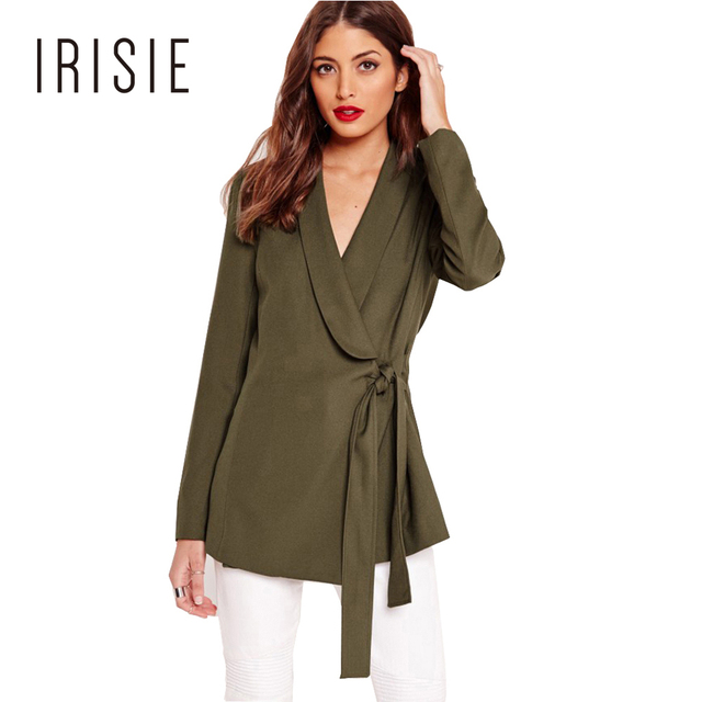 IRISIE Apparel Sexy Chic Basic Female Suit Blazer Green Drape Tie Front Tailored Blazer Autumn V Neck Casual Slim Women Coat