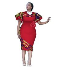Africa Bazin Riche New Arrival 2018 Customized African Print Sleeve Knee  Dress Summer Women Party Dresses Plus Size Clothing 66ae4b5099f2