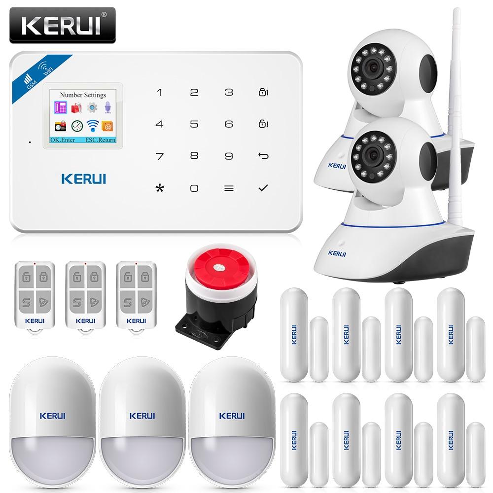 KERUI WIFI GSM Burglar Security Alarm System IP Camera APP Control Home PIR Motion detector Door