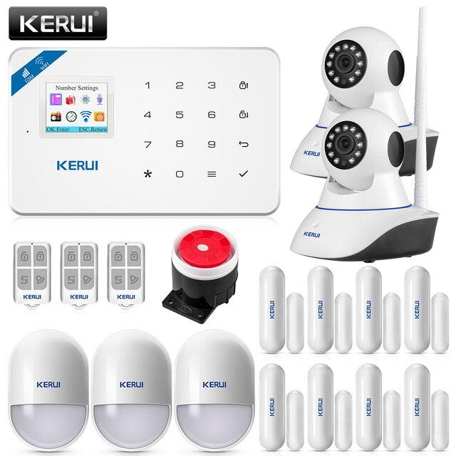 KERUI WIFI GSM פורץ אבטחה IP מצלמה APP בקרת בית PIR Motion גלאי דלת חיישן אזעקת גלאי אזעקה